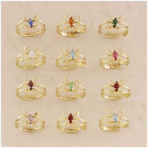3-Dozen Butterfly Birthstone Ring