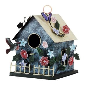 Metal Country House Birdhouse