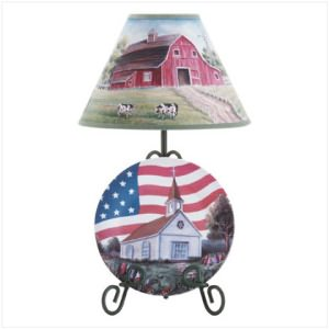 Americana Farmers Plate and Lamp Set