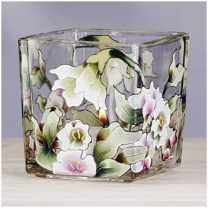 Victorian Flowers Square Glass Votive Holder