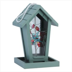 Stained Glass House-Shaped Birdfeeder